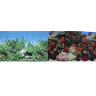 Фон для аквариума двухсторонний Кораллы/Растительный 30х60см (9001/9003)