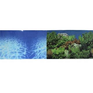 Фон для аквариума двухсторонний Синее море/Растительный пейзаж 30х60см (9063/9071)