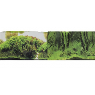 Фон для аквариума двухсторонний Коряги с растениями/Растительные холмы 30х60см (9084/9085)