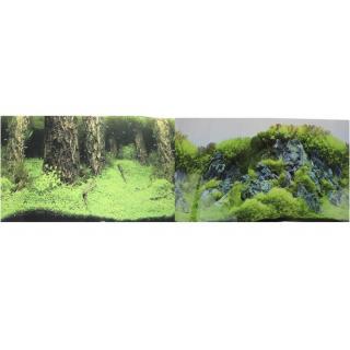 Фон для аквариума двухсторонний Затопленный лес/Камни с растениями 30х60см (9086/9087)