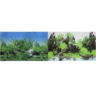 Фон для аквариума двухсторонний Растительный/Скалы с растениями 30х60см (9003/9028)