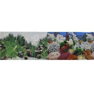 Фон для аквариума двухсторонний Морской пейзаж/Подводный рельеф 30х60см (9029/9030)