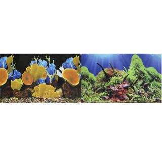 Фон для аквариума двухсторонний Морские кораллы/Подводный мир 30х60см (9096-1/9097)