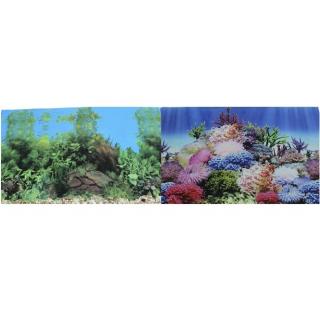 Фон для аквариума двухсторонний Коралловый рай/Подводный пейзаж 30х60см (9099/9031)