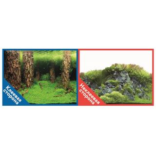 Фон двухсторонний с одной самоклеящейся стороной Затопленный лес/Камни с растениями 30x60см 9086+/9087