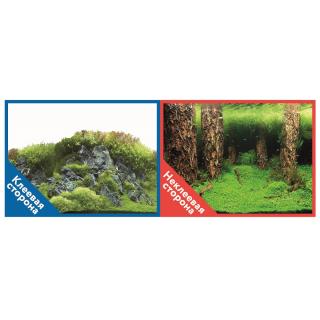 Фон двухсторонний с одной самоклеящейся стороной Затопленный лес/Камни с растениями 30x60см 9086/9087+